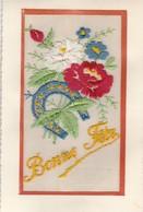 Brodée : Bonne Féte : Fleurs Et Fer à Cheval - Embroidered
