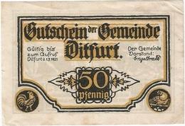Alemania (NOTGELD) - Germany 50 Pfennig 1-7-1921 Dirfurt Ref 3212-1 - [11] Lokale Uitgaven