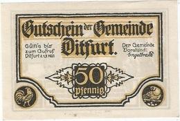 Alemania (NOTGELD) - Germany 50 Pfennig 1-7-1921 Dirfurt Ref 3213-1 - [11] Lokale Uitgaven