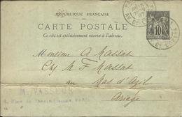 Entier Postal , 10 C , Type Sage , 1897 , N° YT 89 - CP5, Cachets De PARIS ( Av. De L' Opéra ) & LE MAS D'AZIL - Entiers Postaux