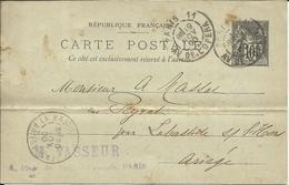 Entier Postal , 10 C , Type Sage , 1900 , N° YT 89 - CP5, Cachets De PARIS 11 ( Av. De L' Opéra ) & LA BASTIDE / L'HERS - Entiers Postaux