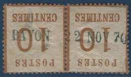 FRANCE Fragment Alsace Lorraine Paire N°5 10c Griffe Allemande Provisoire De Bayon En Bleu RRRR - Alsace-Lorraine