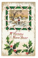 Happy New Year Man By Fence Holly In Winter Scene Vintage Embossed 1911 Postcard - Nouvel An