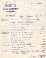 FACTURE 1956 MECANIQUE MARINE JOSEPH BOSSENNEC MÉCANICIEN CAMARET SUR MER FINISTERE - France