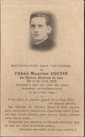 Faire Part De Décès De L'abbé Maurice COUTIN Le 22 Avril 1944 Au Camp De Laura (commando De Buchenwald) - Obituary Notices