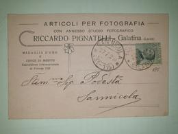 CP341-Cartolina Pubblicitaria Riccardo Pignatelli - Articoli Per Fotografia - Galatina - 1900-44 Victor Emmanuel III
