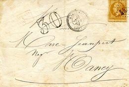 Lettre Insuffisamment Affranchie De Marlenheim Pour Nancy, Datée Du 14/06/1864. Taxe Double Trait à 30 C. - Elzas-Lotharingen