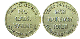 02700 GETTONE TOKEN JETON BROAD ENTERPRISES NO CASH VALUE - USA
