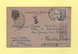 Censure TD322 Sur Carte Postale D Espagne Pour Algerie - 13 Mai 1943 - Censure Madrid - Guerre De 1939-45