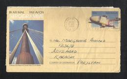 Australia 1988 Slogan Postmark Air Mail Postal Used Aerogramme Cover Australia To Pakistan Airplane - Enteros Postales