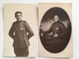 2 Foto Ak Soldat Belge België  Uniform Belgische Soldaat Antwerpen Militair Militaire Medaille Medailles Orden - Guerre 1914-18