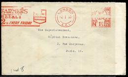 """GRANDE BRETAGNE - OM ROUGE """" FARMERS WEEKLY """" DE LONDON LE 2/1/1939 POUR PARIS - TB - Postmark Collection"""