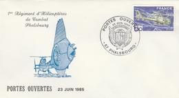 FDC 1985 - PHALSBOURG 57 - Cachet Portes Ouvertes - 1er Régiment D'Hélicoptères De Combat - 1980-1989