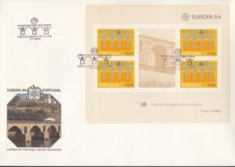 PORTUGAL  Block 43 FDC, EUROPA CEPT 1984, 25 Jahre CEPT - Europa-CEPT