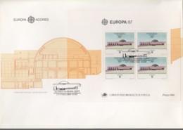 PORTUGAL AZOREN  Block 8 FDC, EUROPA CEPT 1987, Moderne Architektur - Europa-CEPT