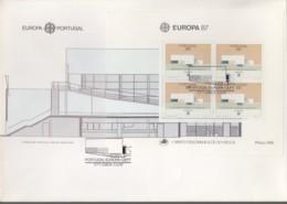 PORTUGAL  Block 54 FDC, EUROPA CEPT 1987, Moderne Architektur - Europa-CEPT