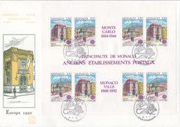 MONACO Block 47 FDC, EUROPA CEPT 1990, Postalische Einrichtungen - Europa-CEPT