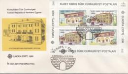 TÜRKISCH ZYPERN  Block 8 FDC, EUROPA CEPT 1990, Postalische Einrichtungen - Europa-CEPT