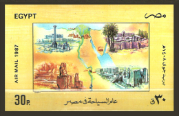 Egypt 1987 - S/S ( Tourism Year - Sphinx, Alexandria, St. Catherine's Monastery, Sinai & Luxor ) - MNH (**) - Poste Aérienne