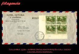 PIEZAS. COLOMBIA. ENTEROS POSTALES. SOBRE CIRCULADO 1956. POPAYÁN-CALI. CACAO. BLOQUE DE CUATRO ESQUINA DE HOJA - Colombie