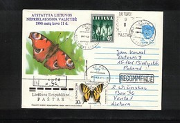 Lithuania 1991 Butterflies Interesting Cover - Schmetterlinge