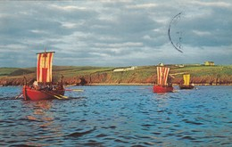 Postcard Peel Isle Of Man Viking War Galleys Re-Enactment Of 798 AD Landing My Ref  B13136 - Isle Of Man
