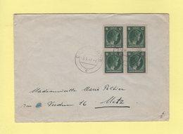 Luxembourg - Doudelange - 3-9-1947 - Destination Metz - Bloc De 4 - Luxemburg