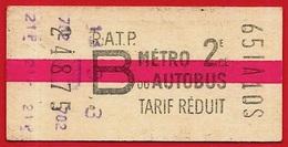 TICKET METRO Ou AUTOBUS RATP B Tarif Réduit - Europe