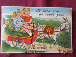 """CPA - Carte à Système - La Roche-d'Oëtre - """"Au Petit Trot ; En Route Pour..."""" - France"""