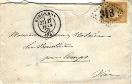 1871 - Lettre De BARGEMON ( Var ) Cad T17 Affr. Bordeaux  10 C Pour La Bastide ( Courrier Local ) - 1849-1876: Klassik
