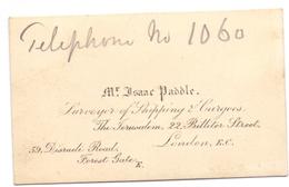 Visitekaartje - Carte Visite - Business Card - Surveyer - Mr. Isaac Paddle  - London - Cartoncini Da Visita