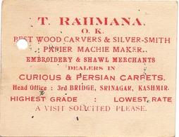 Visitekaartje - Carte Visite - Business Card - T. Rahmana - Wood Carvers - Silver Smith - Embroidery - Carpets - Kashmir - Cartes De Visite
