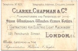 Visitekaartje - Carte Visite - Business Card - Winches Boilers Cranes - Clarke Chapman & C°  - London - Cartes De Visite