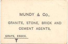 Visitekaartje - Carte Visite - Business Card - Granite , Stone , Brick & Cement Agents - Mundy & C° - Grays , Essex - Cartes De Visite