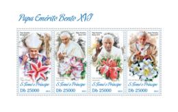Sao Tome 2013 Pope Benedict XVI,Lily ,flower - Sao Tome And Principe