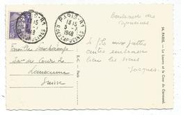GANDON 4FR VIOLET SEUL CARTE 5 MOTS PARIS 81 5.7.1948 POUR SUISSE AU TARIF - 1945-54 Marianne De Gandon