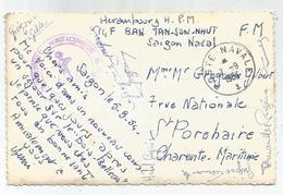 SAIGON VIET NAM INDOCHINE CARTE CATHEDRALE +  POSTE NAVALE 7.9.1954 + MENTION SAIGON NAVAL - Postmark Collection (Covers)