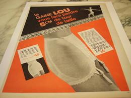 ANCIENNE  PUBLICITE 5 CM DE TOUR DE TAILLE GRACE A   LOU 1964 - Vintage Clothes & Linen