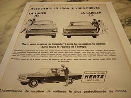 ANCIENNE  PUBLICITE LOUER ICI LA LAISSER LA HERTZ 1964 HERTZ - Voitures
