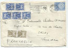 TAXE 1FR GERBESX5+20FRX2 ORSAY 1959 LETTRE SUISSE 50C ZURICH - Postmark Collection (Covers)