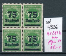 D.-Reich Nr.  4x 287  B  Geprüft   **    (ed4936  ) Siehe Scan - Deutschland