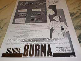ANCIENNE PUBLICITE BIJOUX DE PRINTEMPS BURMA 1935 - Bijoux & Horlogerie