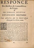 Polémique Liégeoise En 1678 - Before 18th Century
