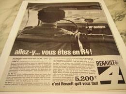 ANCIENNE PUBLICITE VOITURE R4 DE RENAULT 1964 - Cars