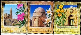 BG2766 Ghana 1999 Jerusalem Architecture And Flower 3V MNH - Ghana (1957-...)