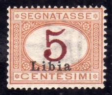 LIBIA 1915 SEGNATASSE POSTAGE DUE TASSE COLORE DIVERSO CIFRA ROSSO BRUNO CENT. 5c MLH FIRMATO SIGNED - Libia