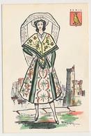 CPSM 10.5 X 15 Costume Folklorique AUNIS Femme Illustrateur Margotto - Illustrators & Photographers