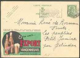 BELGIUM - E.P. A35c. Lion Publibel 260 EXPORT BIER BIERE VANDENHEUVEL, Obl. BRUXELLES (MIDI) 9-IX-37 Vers Gelinden - 138 - Bières