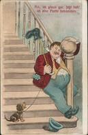 Scherzkarte Humor Mann Rutscht Treppe Runter, Hund Amüsiert 1910 - Humor