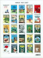 Belgium BL 143** HERGE Tintin 1907-2007. 25 Timbres 0.46 € - Comics